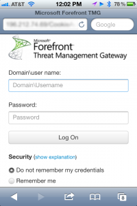 Forefront TMG Mobile Friendly Authentication Form On iPhone