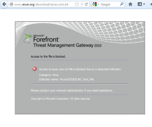 Forefront TMG Block Page - Blocked Due to Infection