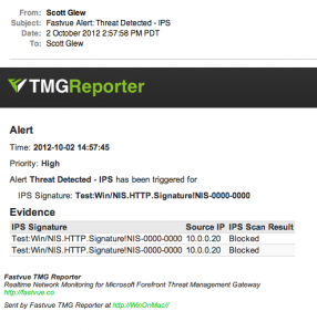 Receiving Forefront TMG IPS Alerts via Email