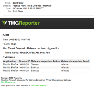 Receiving Forefront TMG Malware Events via Email