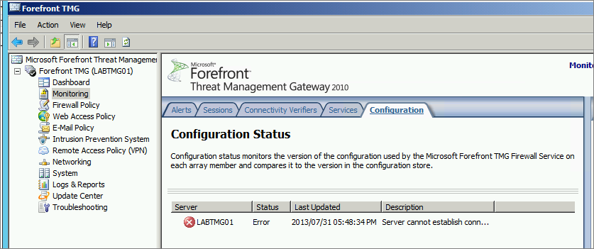 How To Recover Forefront TMG From a Corrupt Configuration Database
