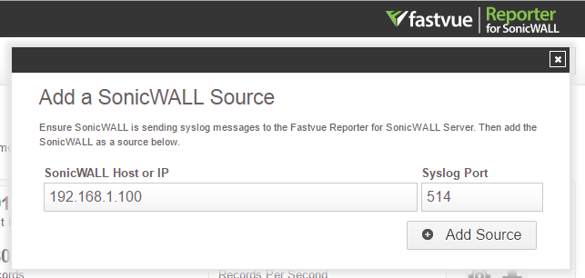 Add A SonicWall Syslog Source in Fastvue Reporter
