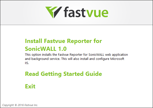 Fastvue Reporter for SonicWall Installation Launcher