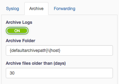 Fastvue Syslog Server Editing Archive Options