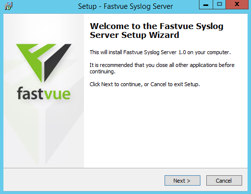 Fastvue Syslog Server Installer Welcome