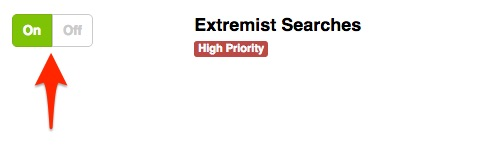 Enabling The Extremist Searches Alert