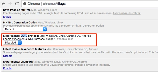 Disable Google Quic In Chrome