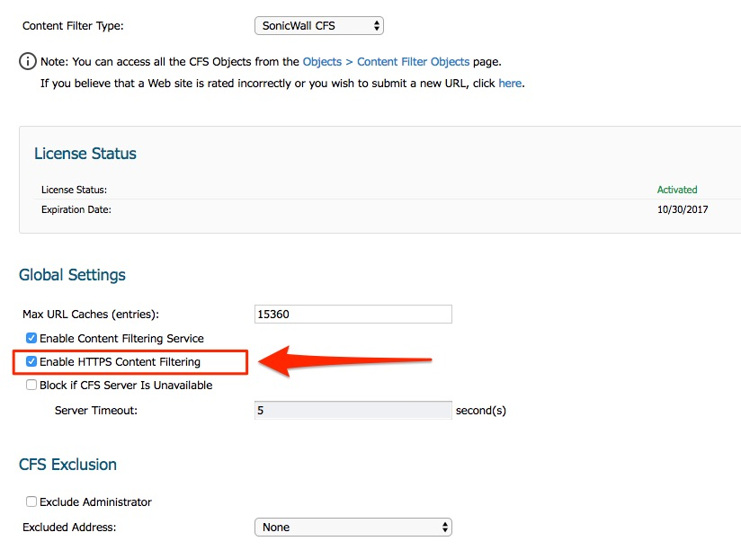 Enable SonicWall HTTPS Content Filtering