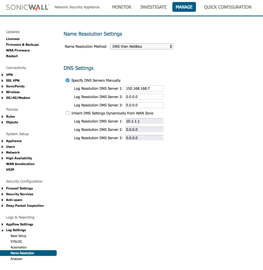 SonicWall Name Resolution Log Settings