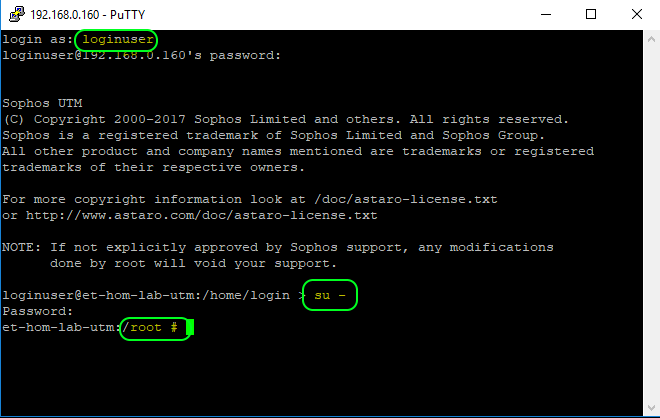 Sophos UTM Shell Login and Elevation