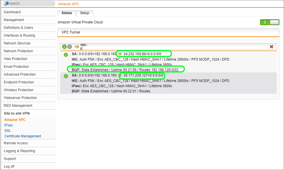 Sophos SG and Amazon VPC VPN Setup and Testing Guide