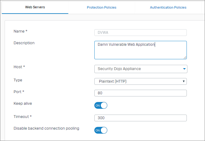 Configuring the Sophos XG web application firewall