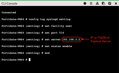 Configuring Fortinet FortiGate Syslog Server via the CLI