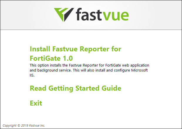 Fastvue Reporter for FortiGate Installer