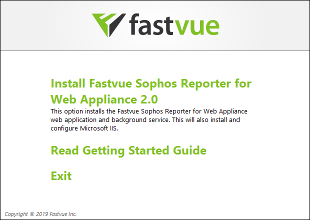 Sophos Reporter for Web Appliance Install launcher