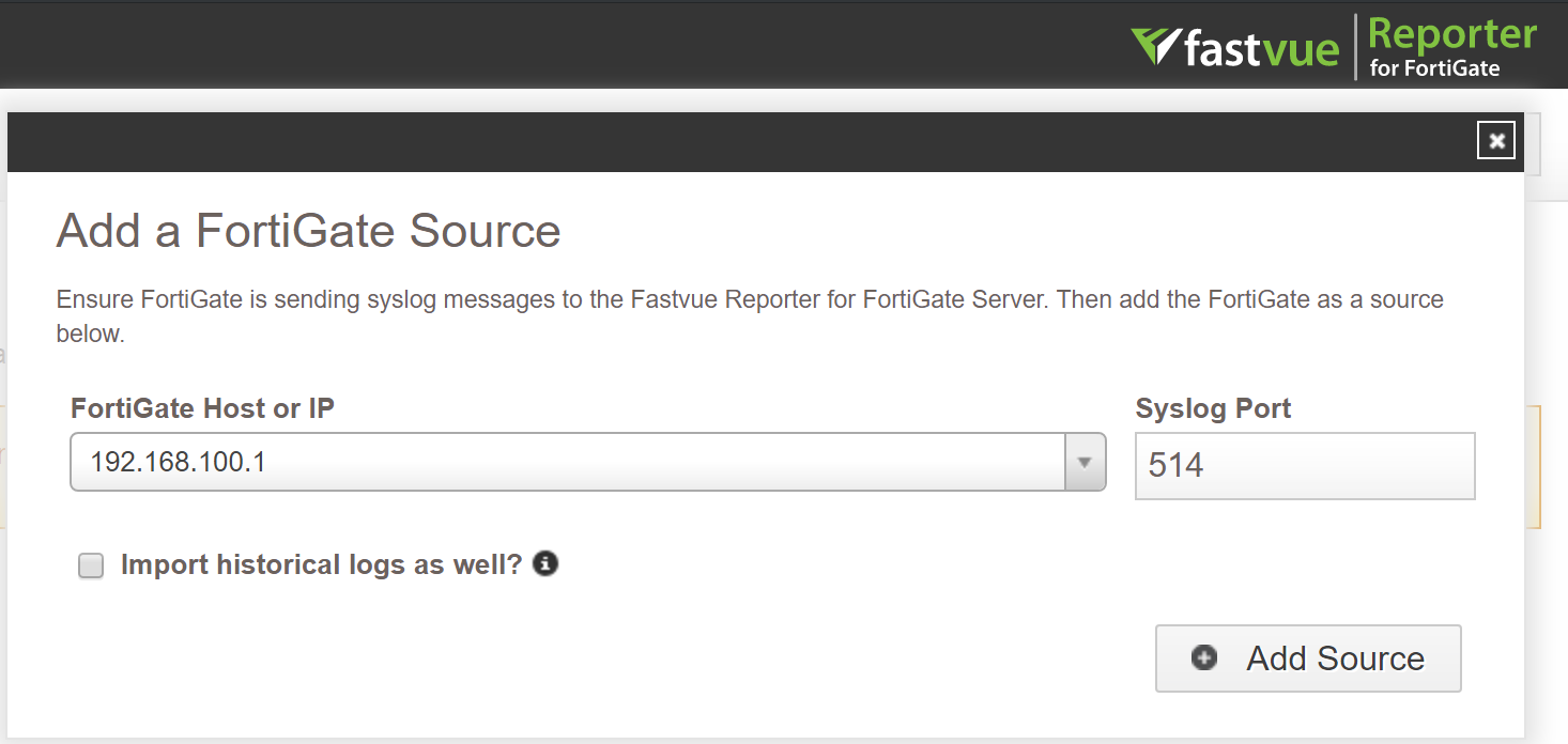 Reporter for FortiGate Add Source