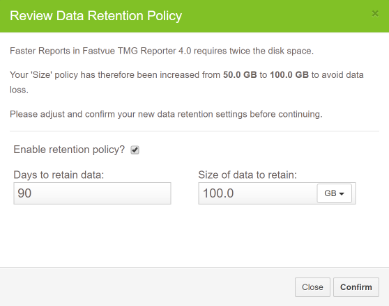 Review Data Retention TMG Reporter