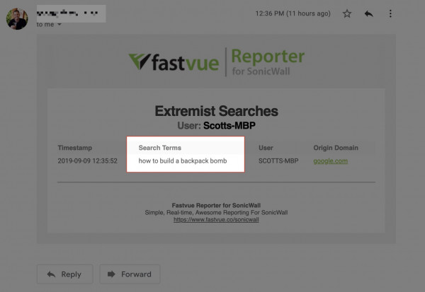 Fastvue Reporter For SonicWall Search Terms Alert