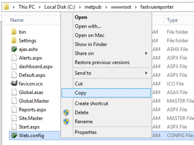 Backup Fastvue Reporter's IIS Settings