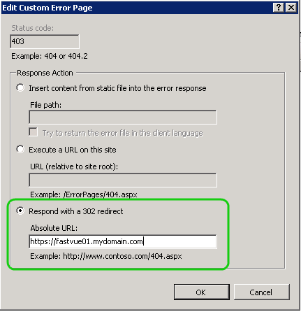 Customizing IIS 403 Error Pages