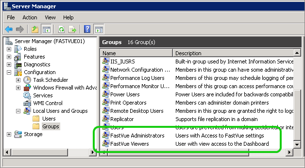 Server Manager Local Groups
