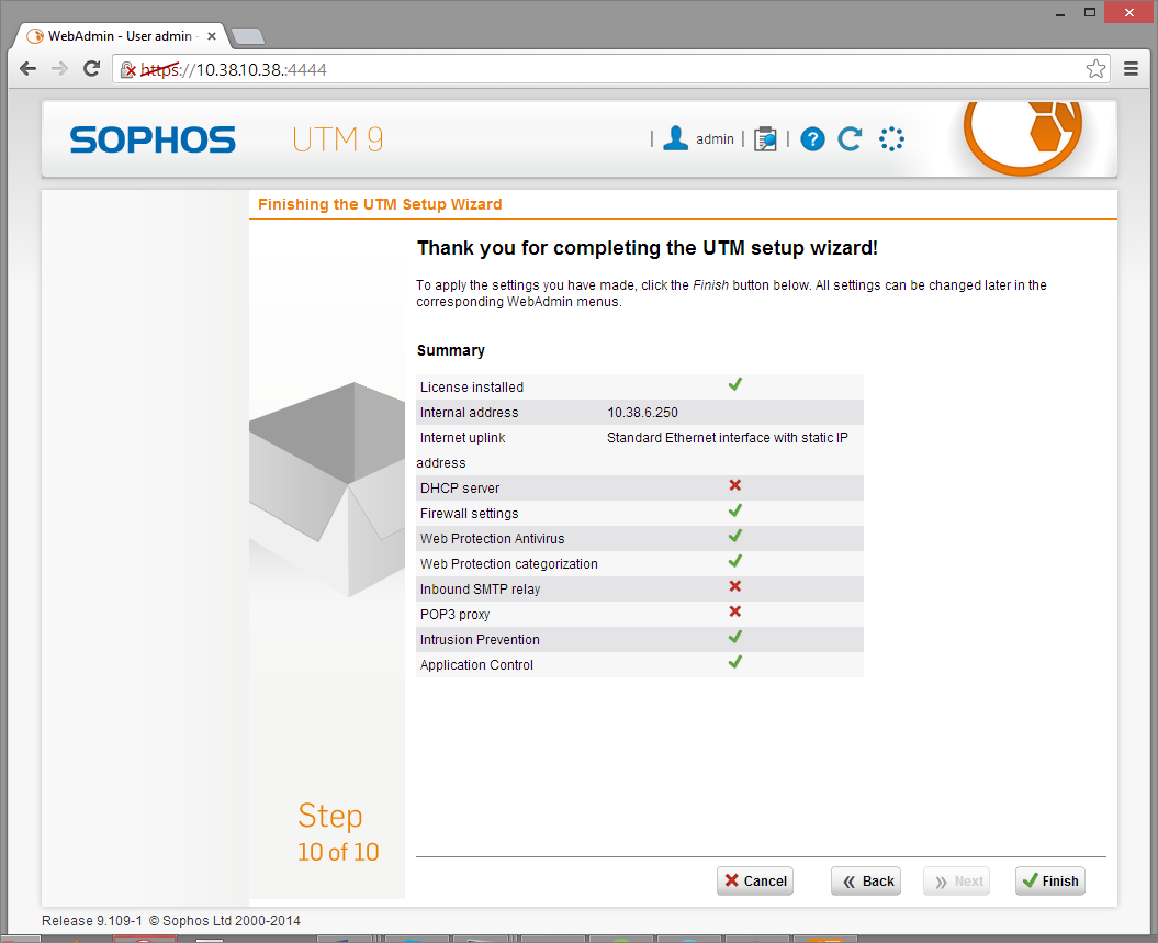 Sophos UTM Deployment - Initial Configuration Wizard 8