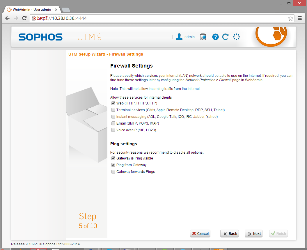 Sophos UTM Deployment - Initial Configuration Wizard 9