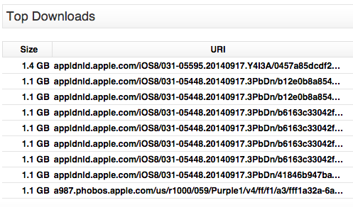 Apple iOS 8 Bandwidth Dashboard Top Downloads