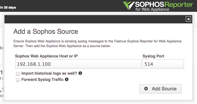 Sophos Reporter for Web Appliance - Add Source