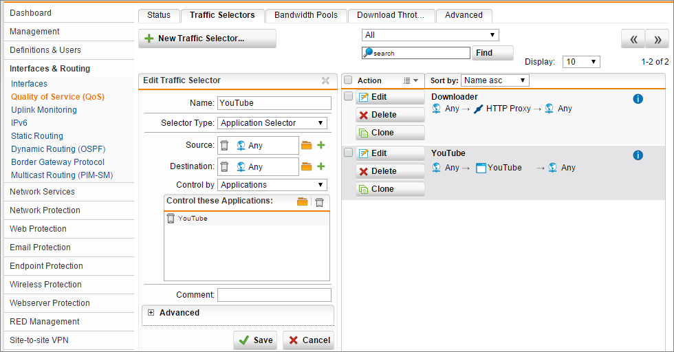 Limit YouTube Traffic With Sophos UTM QoS