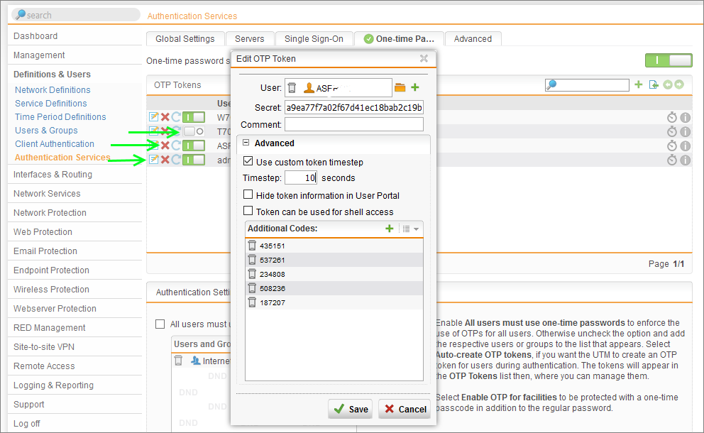 Sophos UTM OTP Token Revocation and Suspension - Two Factor Authentication