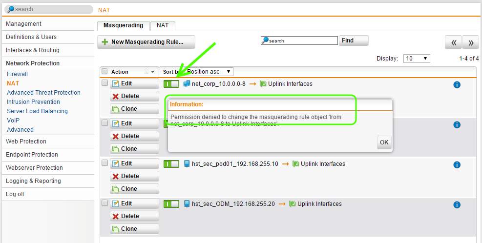 Sophos UTM Access Control - Network Protection Settings