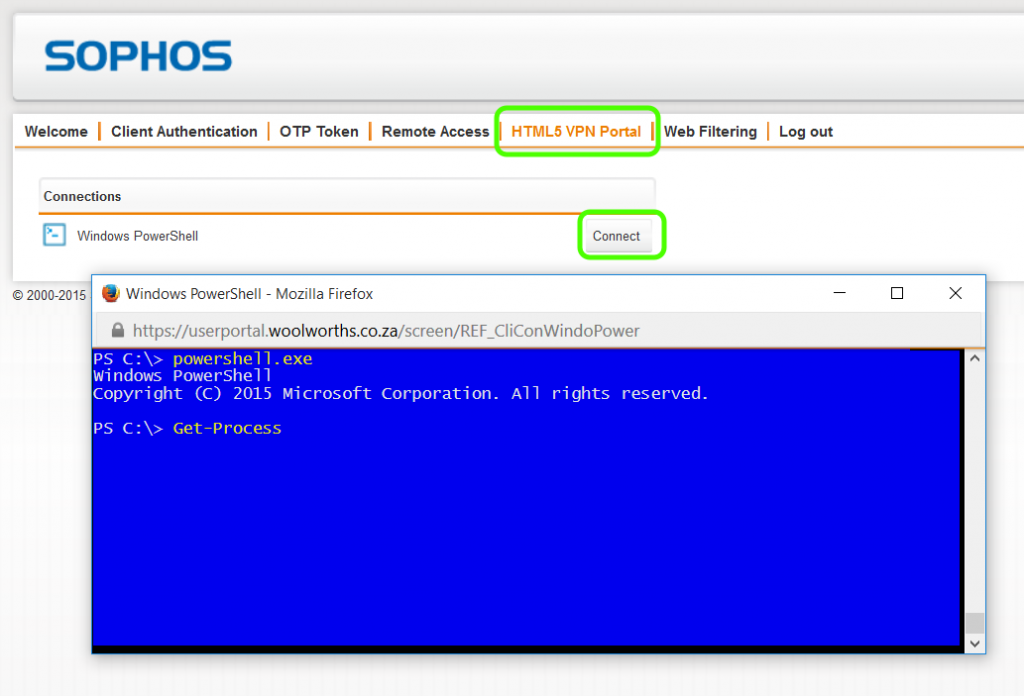 Publishing PowerShell over SSH Using Sophos UTM's HTML 5 VPN