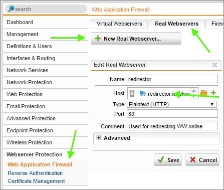 Configure a URL Redirect with Sophos UTM's Web Application