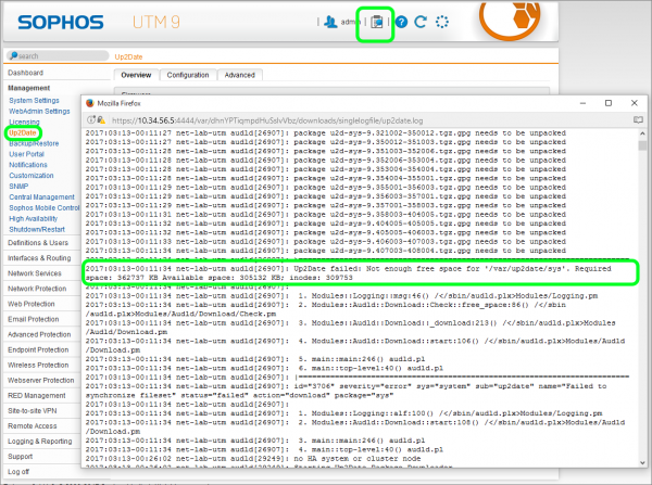 Troubleshooting Sophos UTM Up2Date Failure Due to Disk Space