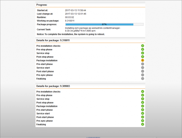 Sophos UTM Up2Date Progress