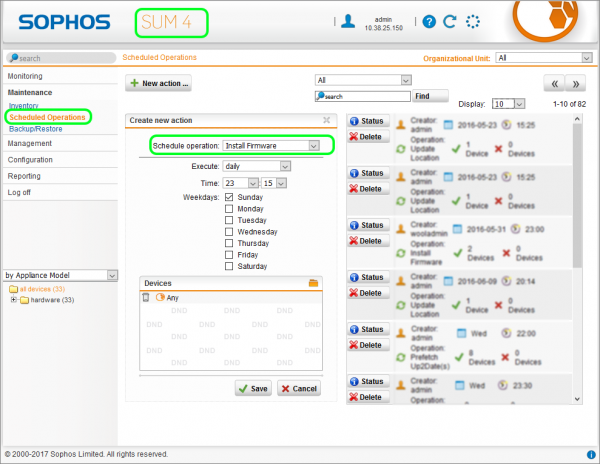 Sophos SUM Schedule Operation Install Firmware